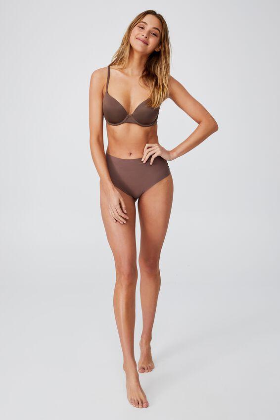 The Invisible High Cut Bikini Brief, DEEP TAUPE