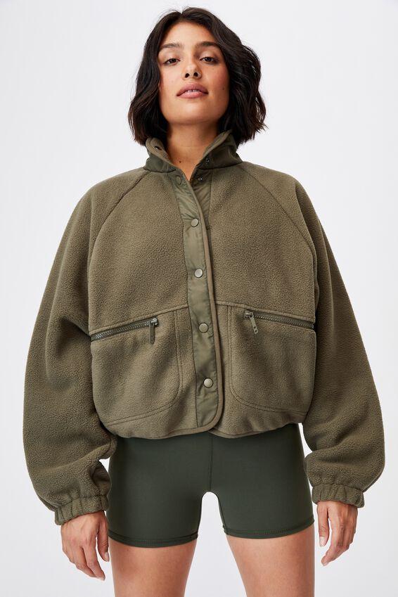 Warm Up Sherpa Jacket, DEEP MOSS
