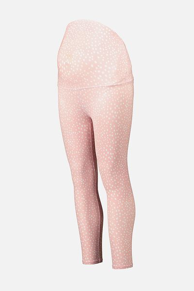 Maternity Lifestyle 7/8 Tight, PEONY PINK SPOTIMAL
