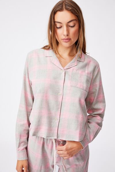 Flannel Sleep Shirt, GREY MARLE PINK CHECK