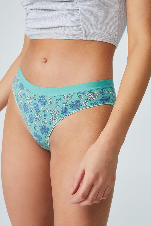 Organic Cotton Bikini Brief, FLORAL BUNCH DITSY SMOKED GREEN GATHER