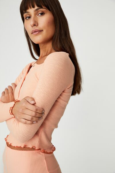 Pretty Little Sleep Henley, WASHED APRICOT