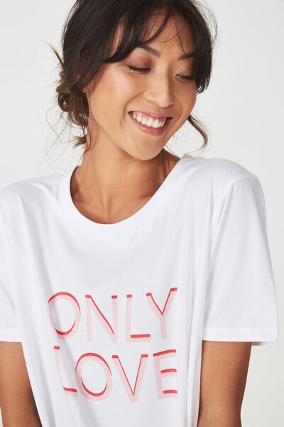 Boyfriend Tshirt, WHITE/ONLY LOVE