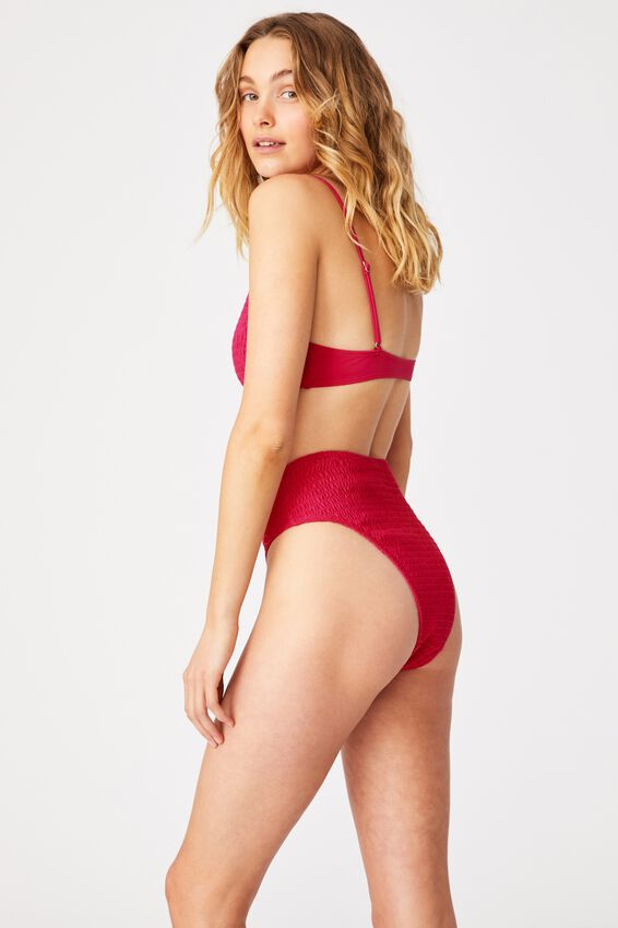 Highwaisted Cheeky Bikini Bottom, FUCHSIA PINK SHIRRED