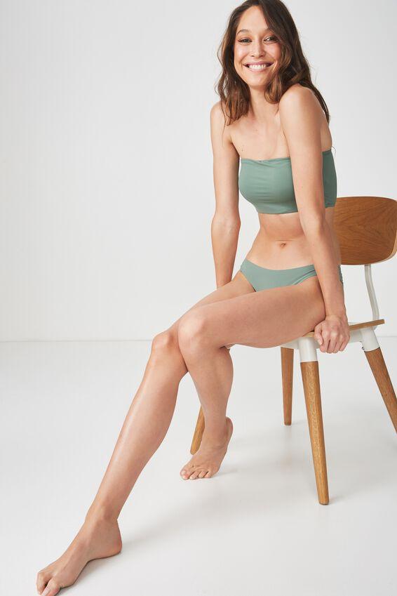 Longline Bandeau Bikini Top, FERN GREEN MATTE