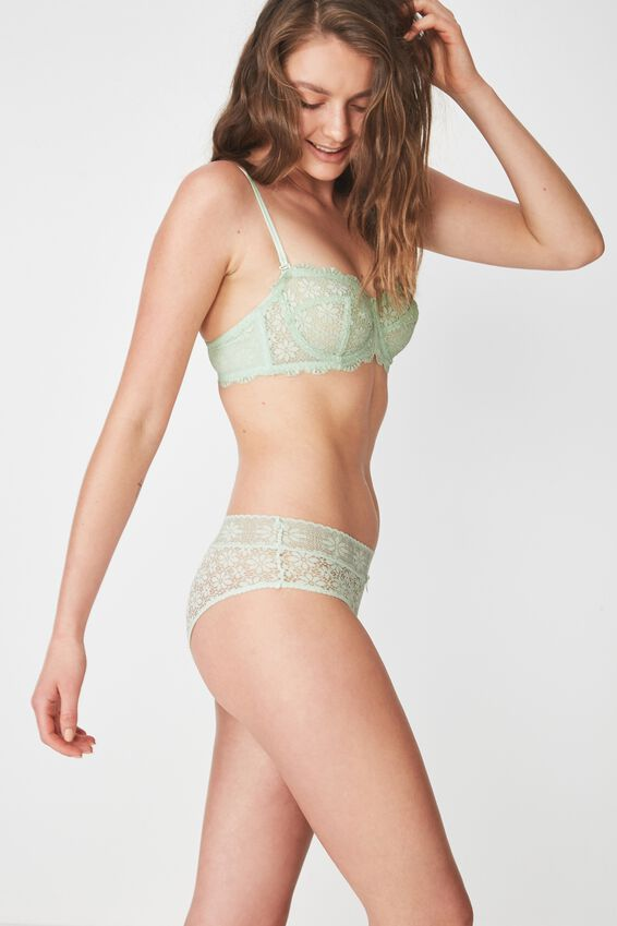 Jojo Allover Lace High Waist Brasiliano Brief, SIL GREEN