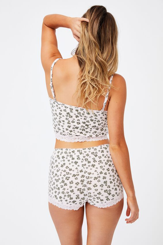 Rib Lace Sleep Cami, CLUSTER DAISY/ROSE WATER