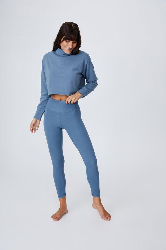 Lifestyle Mock Neck Fleece Top, COPEN BLUE