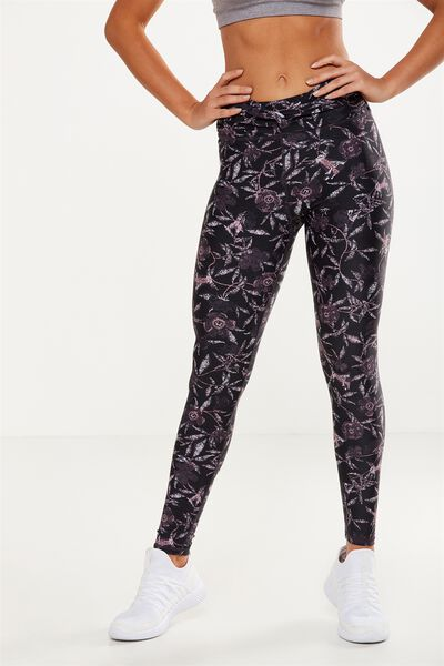Knot Front Studio Tight, SKETCH FLORAL BLACK