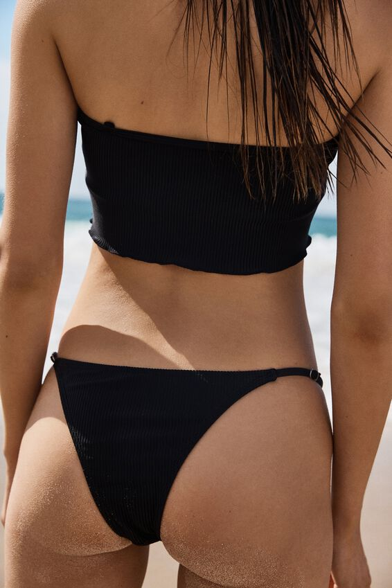 Tanga Brazilian Bikini Bottom, BLACK RIB