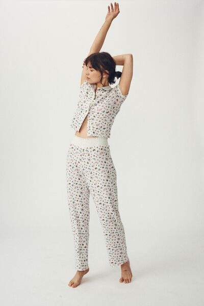 Knit Pointelle Sleep Pant, BUTTERFLY DITZY/SOFT GREY MARLE