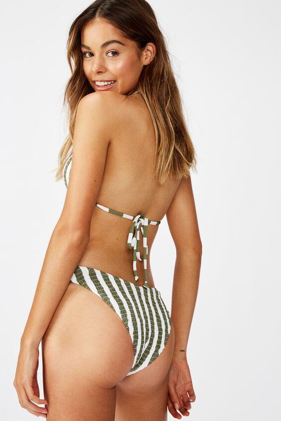 High Side Brazilian Bikini Bottom, COOL AVOCADO STRIPE SHIRRED