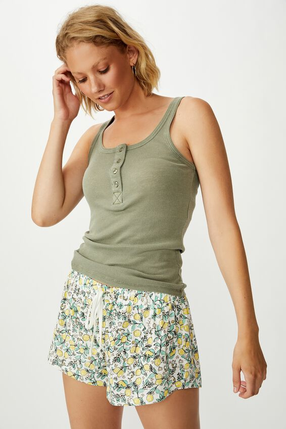Rib Henley Sleep Tank, COOL AVOCADO