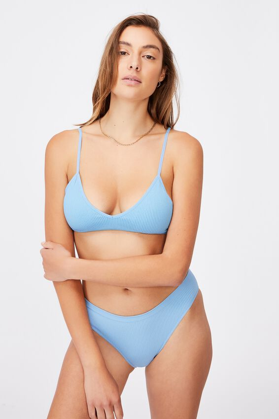 Seamfree Triangle Bralette With Cups, GLACIER BLUE