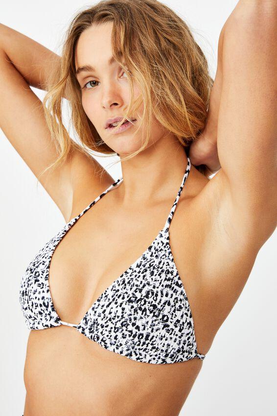 Slider Triangle Bikini Top, MONO LEOPARD SHIRRED