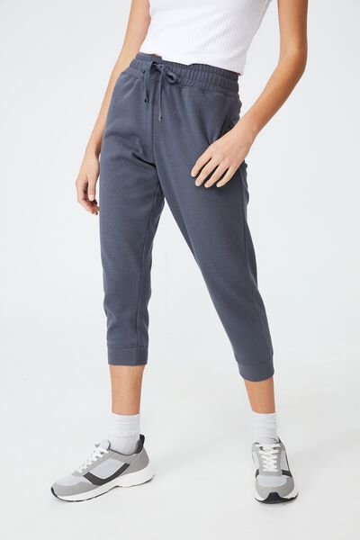 Lifestyle Cropped Gym Track Pants, PEWTER GREY