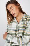 Personalised Flannel Sleep Shirt, WASHED ALOE CHECK
