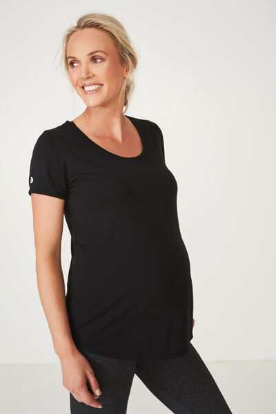 Maternity Gym T Shirt, BLACK