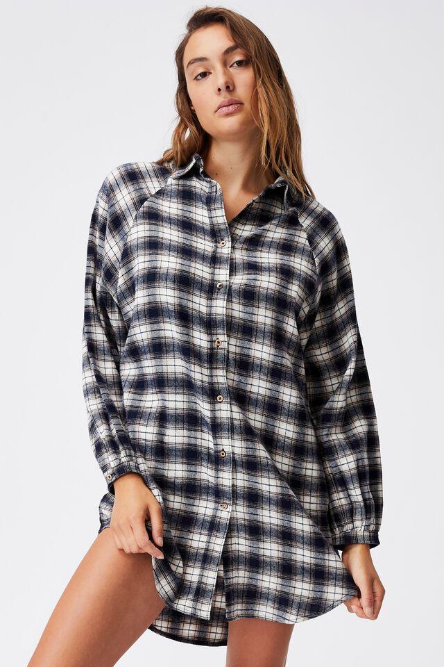 Warm Flannel Sleep Shirt Nightie, MINI CHECK NAVY