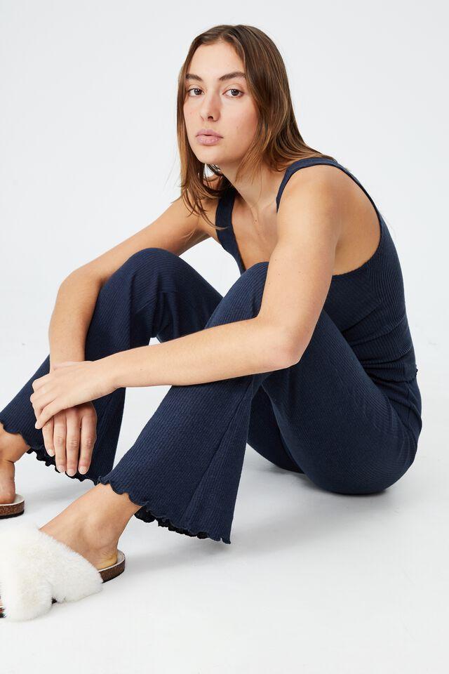 Super Soft Bed Pant, MAGNET BLUE RIB