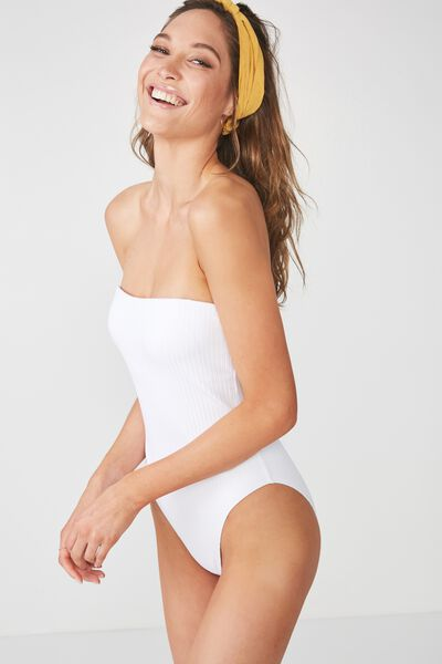 Esther Rib Strapless One Piece Cheeky, WHITE