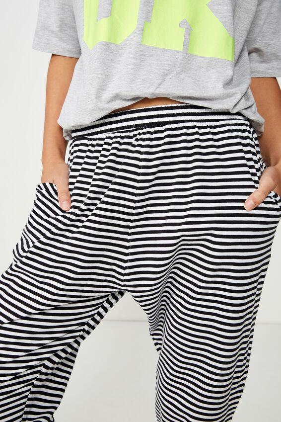 Jersey Cropped Cuffed Pant, FREDDIE FEEDER STRIPE BLACK