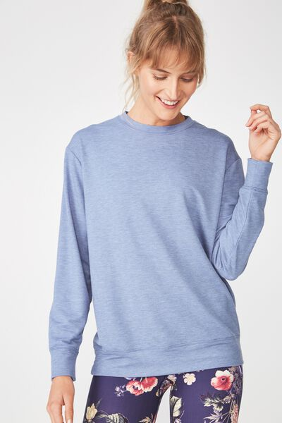 Summer Crew Long Sleeve Top, CHALKY BLUE MARLE