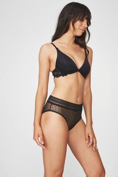 Stephanie Mesh Highwaist Cheeky Bikini Brief, BLACK