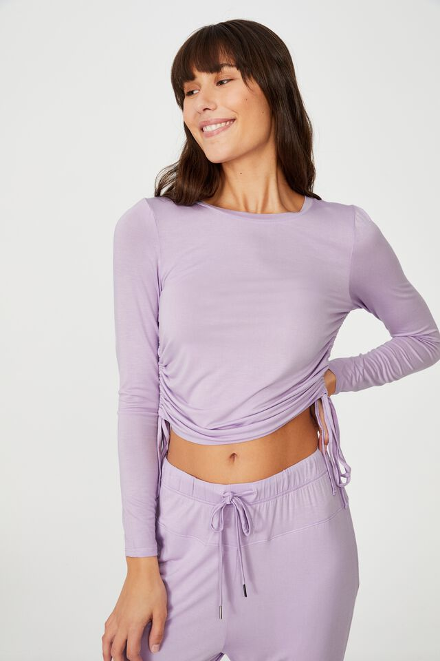 Sleep Recovery Side Tie Long Sleeve Top, PASTEL LILAC