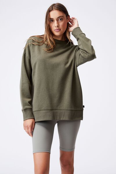 Lifestyle Long Sleeve Crew Top, DEEP MOSS