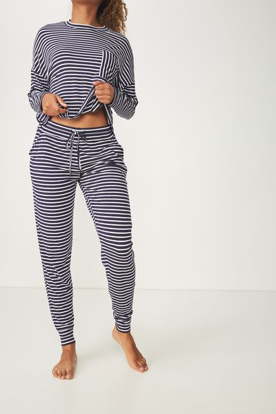 Sleep Recovery Pant, NAVY/WHITE STRIPE