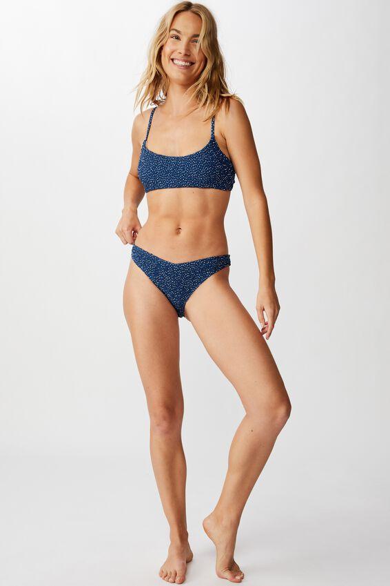 High Side Brazilian Bikini Bottom, MARINA BLUE IRREGULAR SPOT SHIRRED