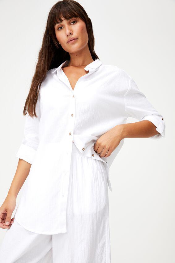 Oversized Beach Shirt, WHITE