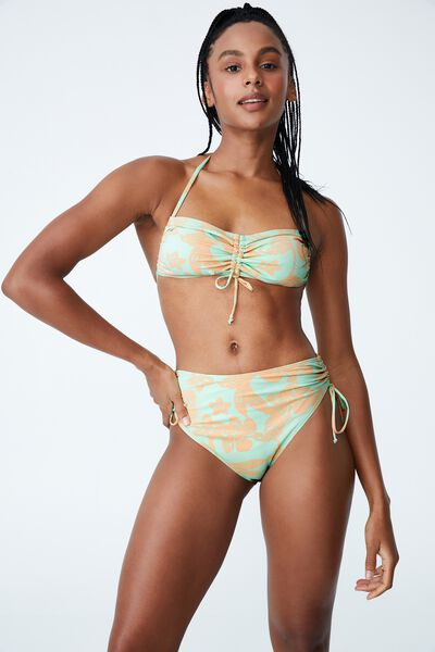 Highwaisted Tie Side Cheeky Bikini Bottom, HIBISCUS VINE MINT CHIP