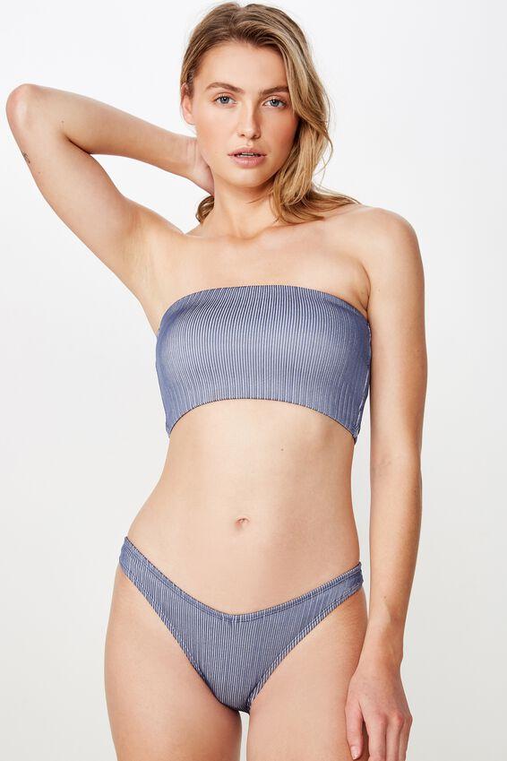 Longline Bandeau Bikini Top, BERING SEA SHIMMER RIB