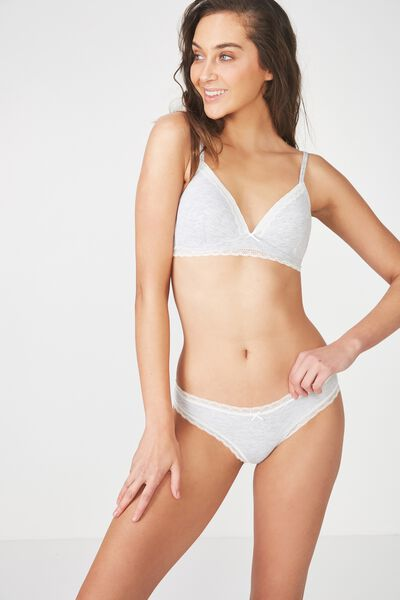 Rib & Lace Bikini Brief, GREY MARLE