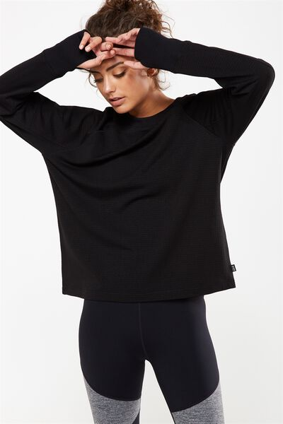 Waffle Crew Neck Long Sleeve Top, BLACK