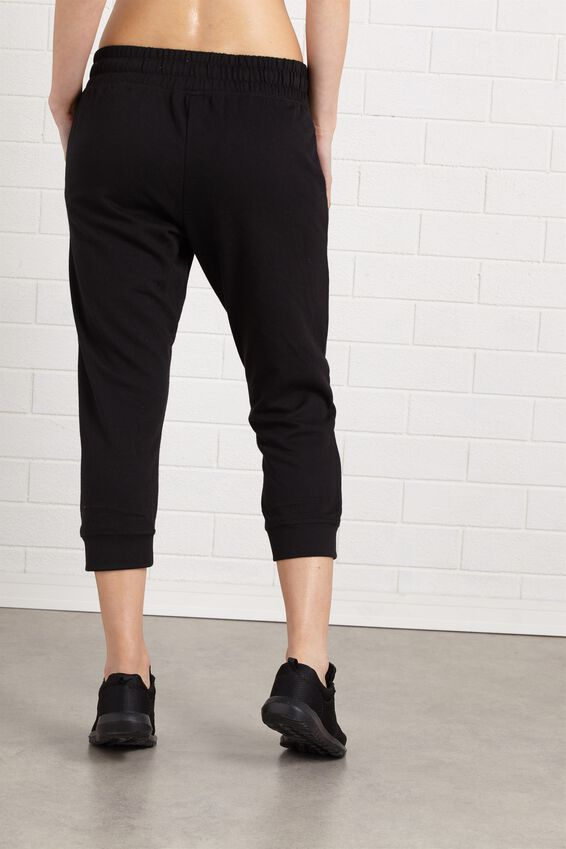 Cropped Gym Track Pants, BLACK