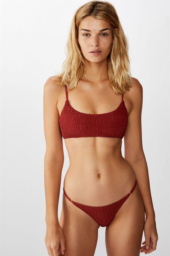 Scoop Crop Bralette Bikini Top, RUST SHIRRED