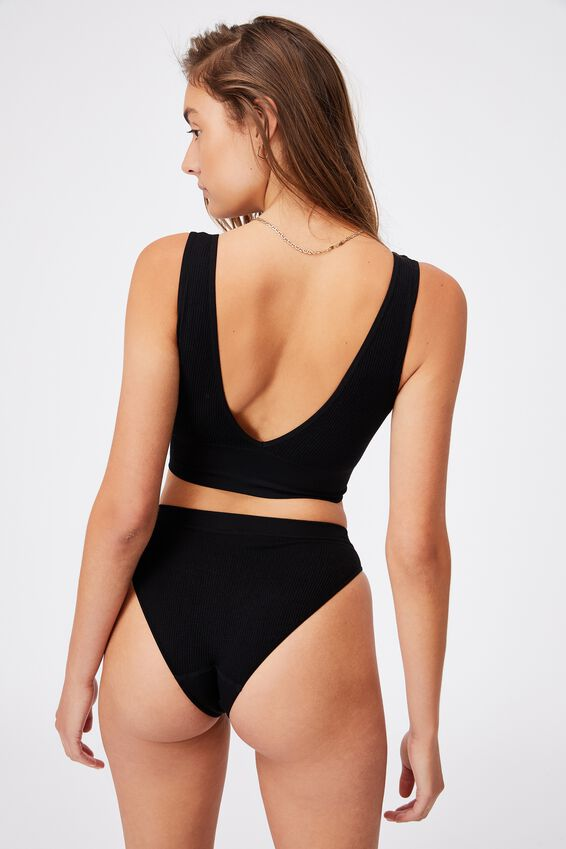 Seamfree Reversible Crop, BLACK