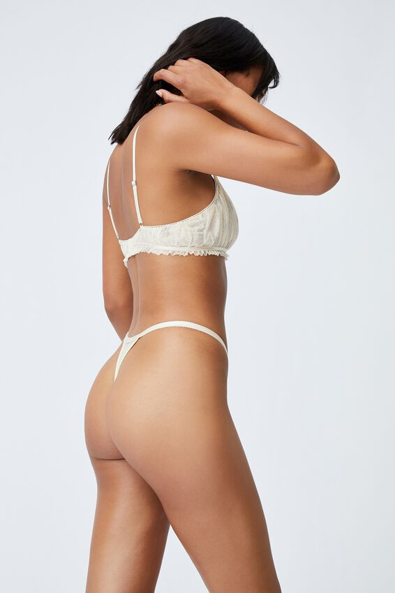We Just Mesh Tanga G String Brief, FLORAL LACE BUTTERMILK