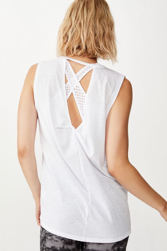Twist Back Muscle Tank Top, WHITE