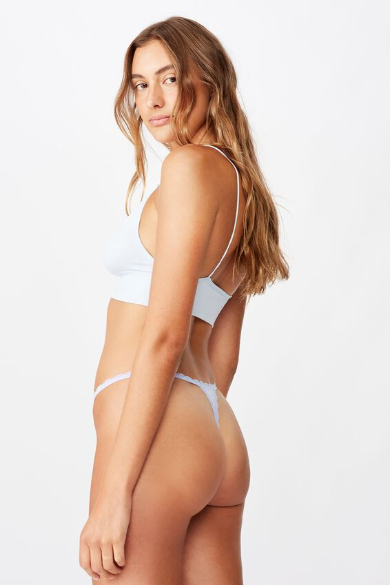 Charlotte Lace Trim G-String Brief, PAINTED DAISY BABY BLUE