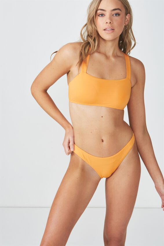 High Side Cut Cheeky Bikini Bottom, HEAT WAVE ORANGE