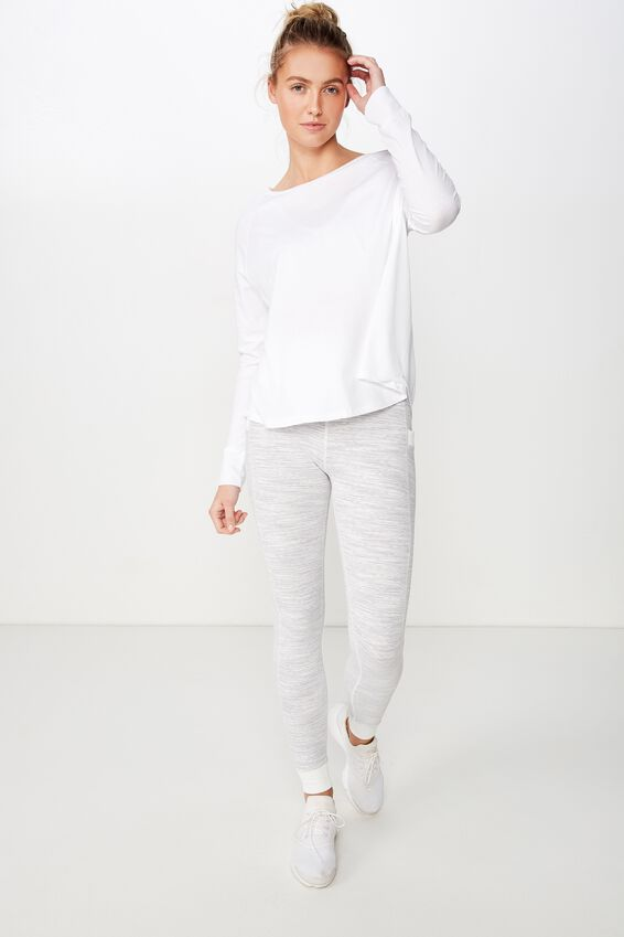 Active Rib Long Sleeve Top, WHITE