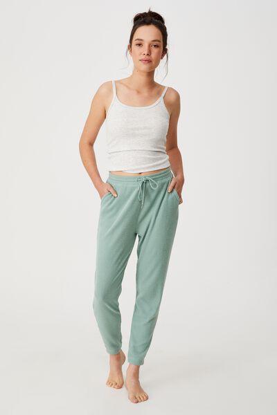 Super Soft Slim Cuff Pant, SMOKE GREEN MARLE RIB