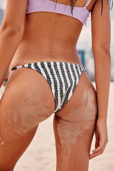 Tanga Brazilian Bikini Bottom, COOL AVOCADO STRIPE SHIRRED