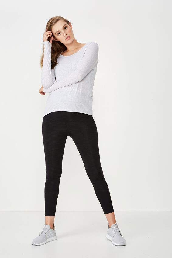 Maternity Long Sleeve Sports Top, GREY MARLE