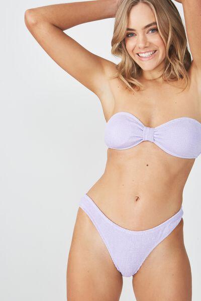 Billie Crinkle Knotted Bandeau Bikini Top, LILAC