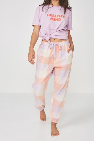 Dropped Flannel Pant, LADY LILAC CHECK